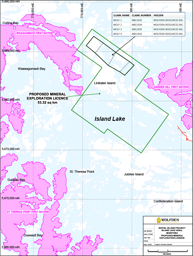 Nickel Island mineral exploration licence map